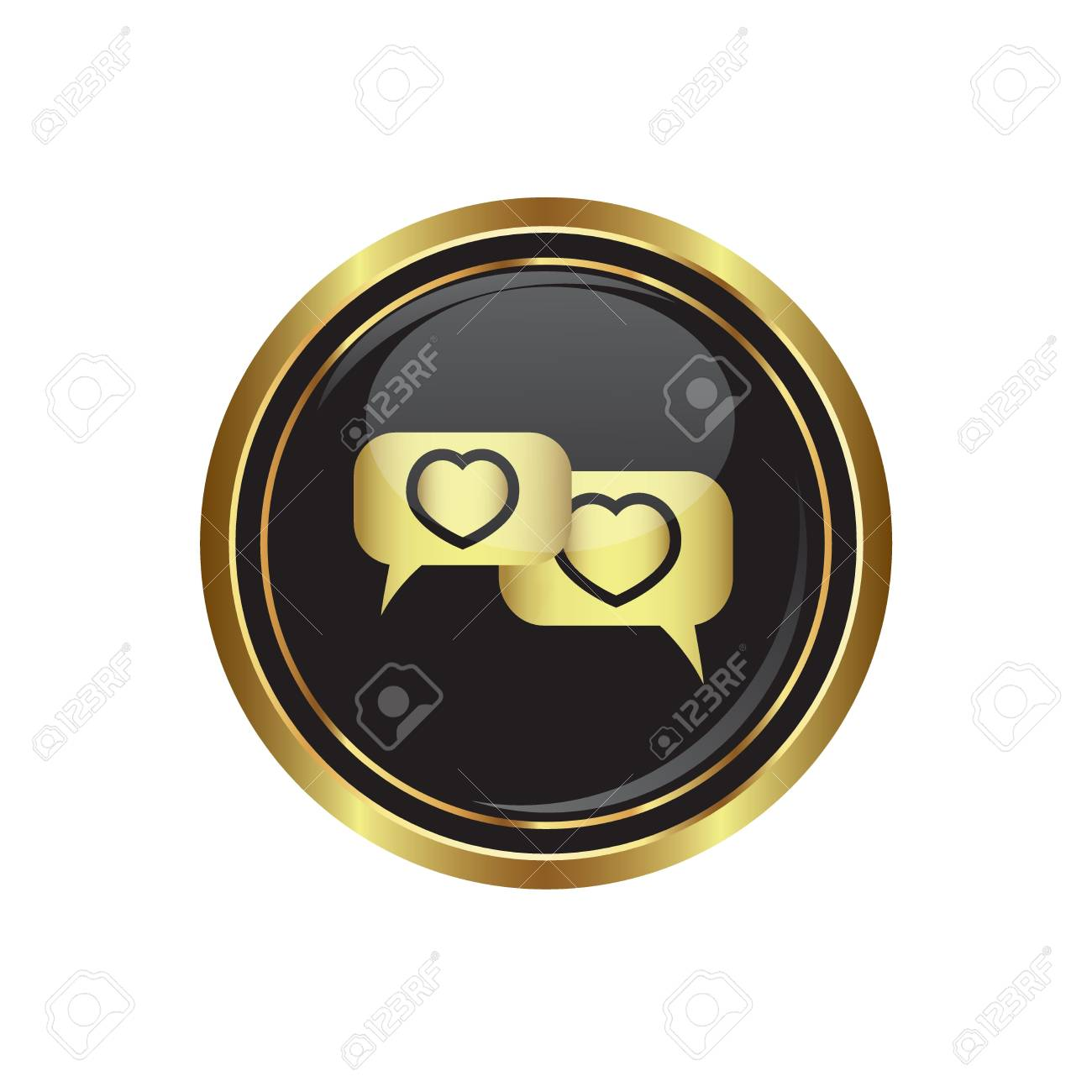 Speech bubbles with hearts icon on the black with gold round button  Vector illustration Stock Vector - 17856141