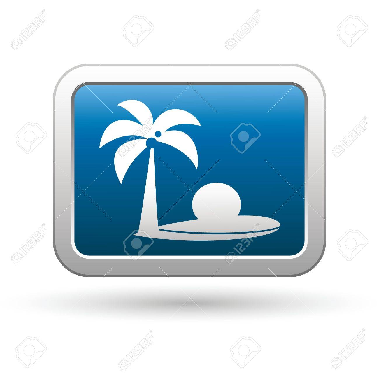 Tropical beach with palm tree icon on the blue with silver rectangular button  Vector illustration Stock Vector - 18265529