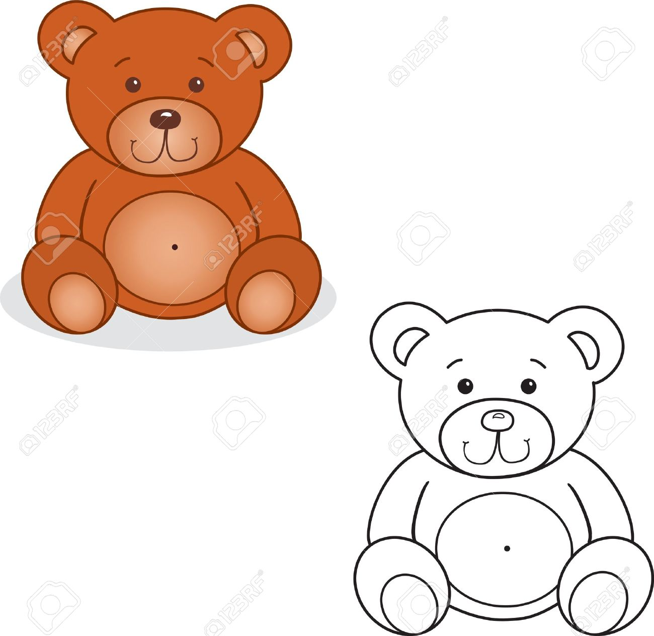 Coloring Book Bear Toy Vector Illustration Isolated On White Royalty