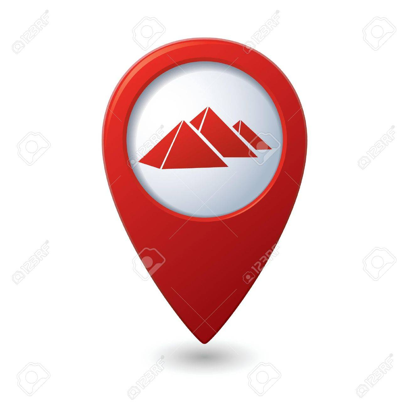 Map pointer with pyramids icon  Vector illustration Stock Vector - 18265573