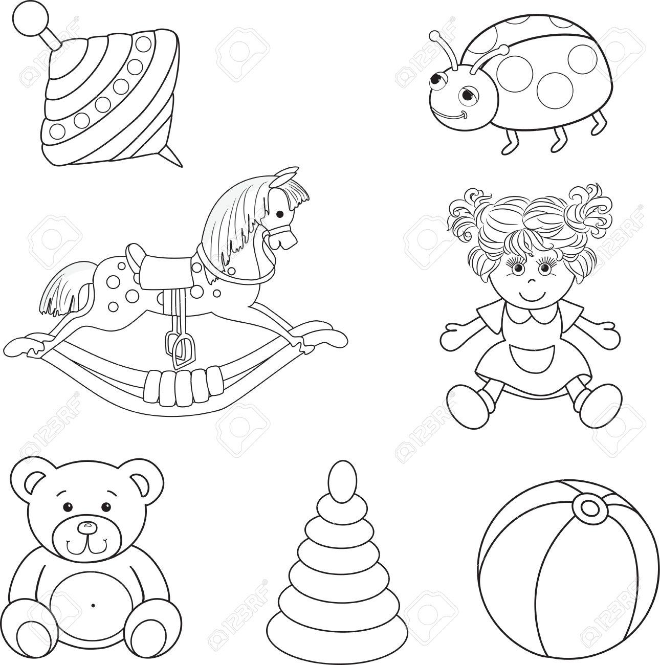 Conjunto De Ilustración Bebé Resumidas S Juguetes Vector Elementos