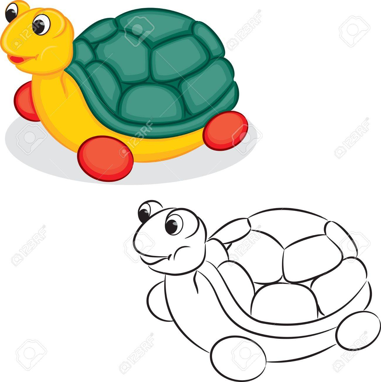 turtle toy coloring book vector illustration royalty free cliparts
