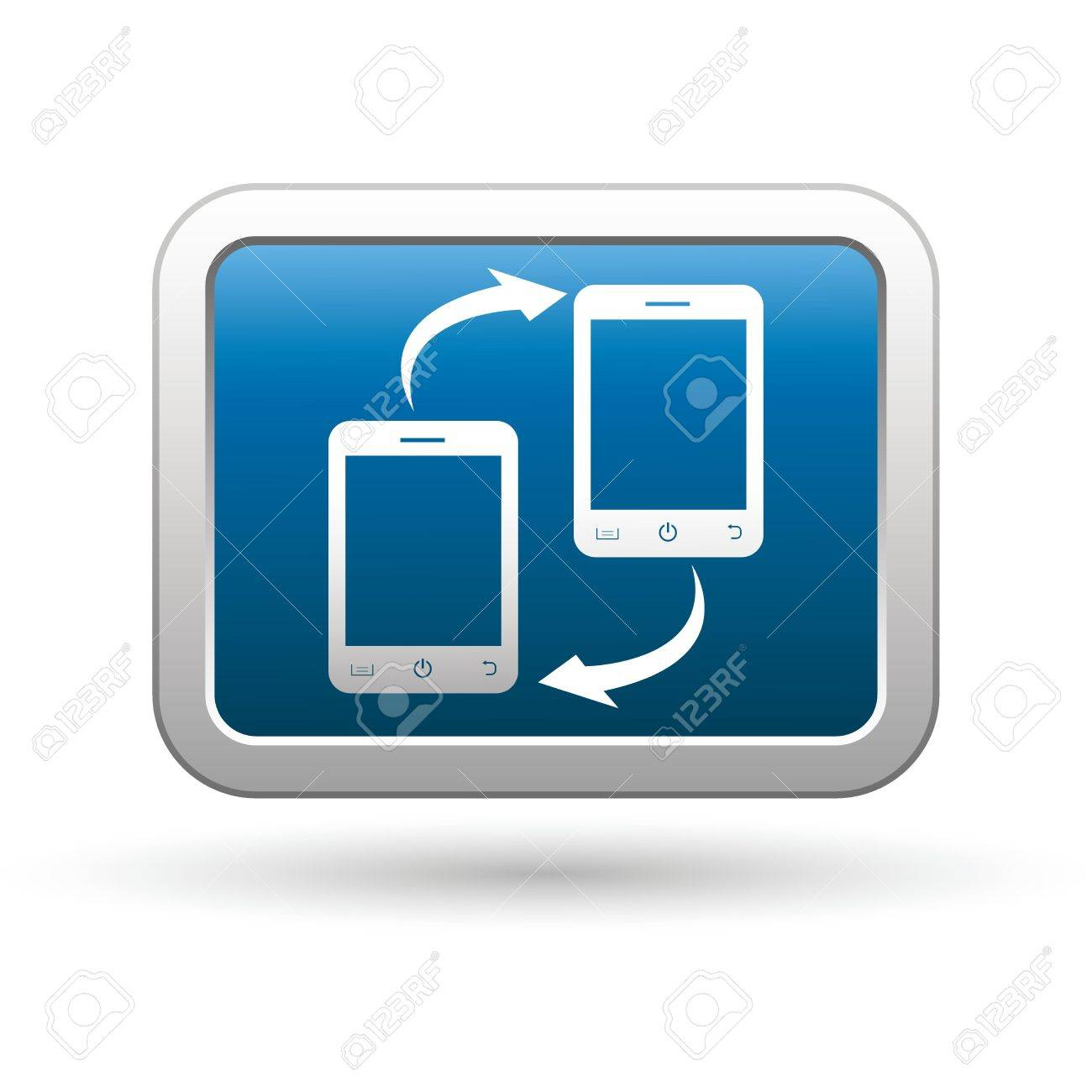 Phone connection icon on the blue with silver rectangular button  Vector illustration Stock Vector - 18406682