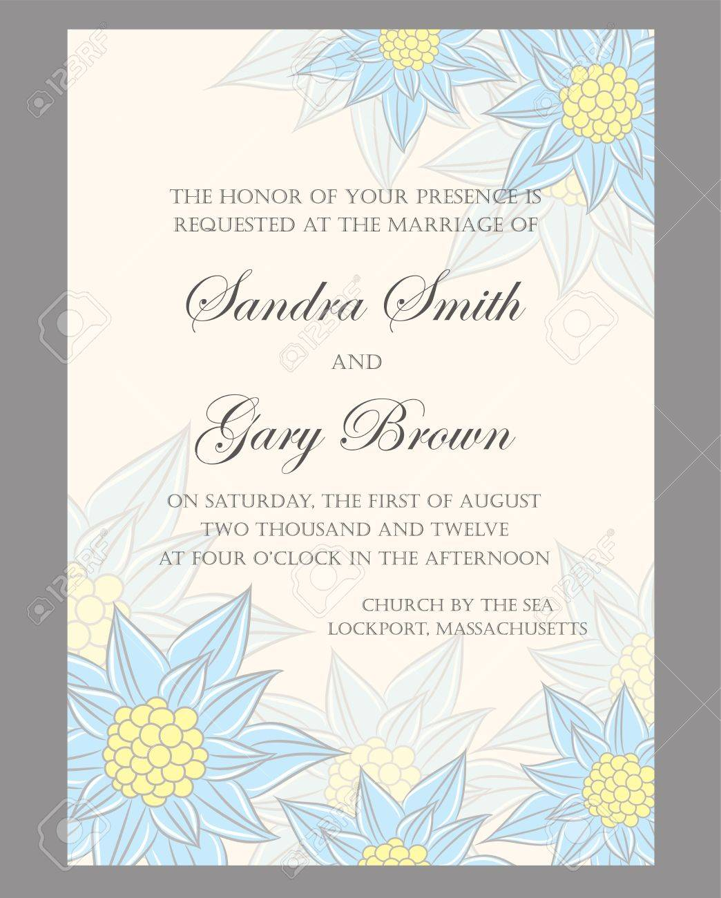 Floral wedding invitation or announcement card Stock Vector - 18700130