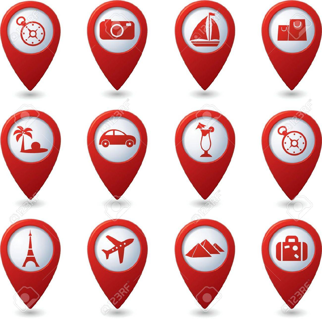 Map Pointers With Travel Icons Illustration Royalty Free Cliparts – Travel Map Marker