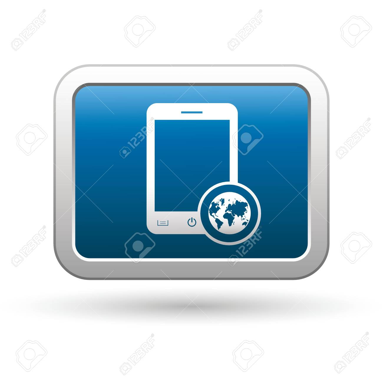 Phone with map menu icon on the blue with silver rectangular button  illustration Stock Vector - 18699972