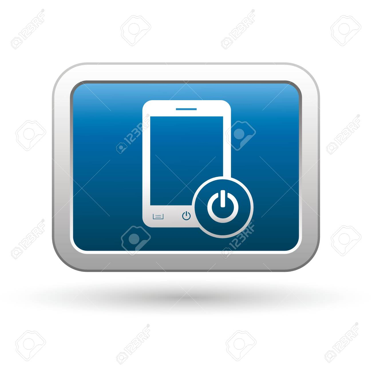 Phone with icon on the blue with silver rectangular button   illustration Stock Vector - 18699959