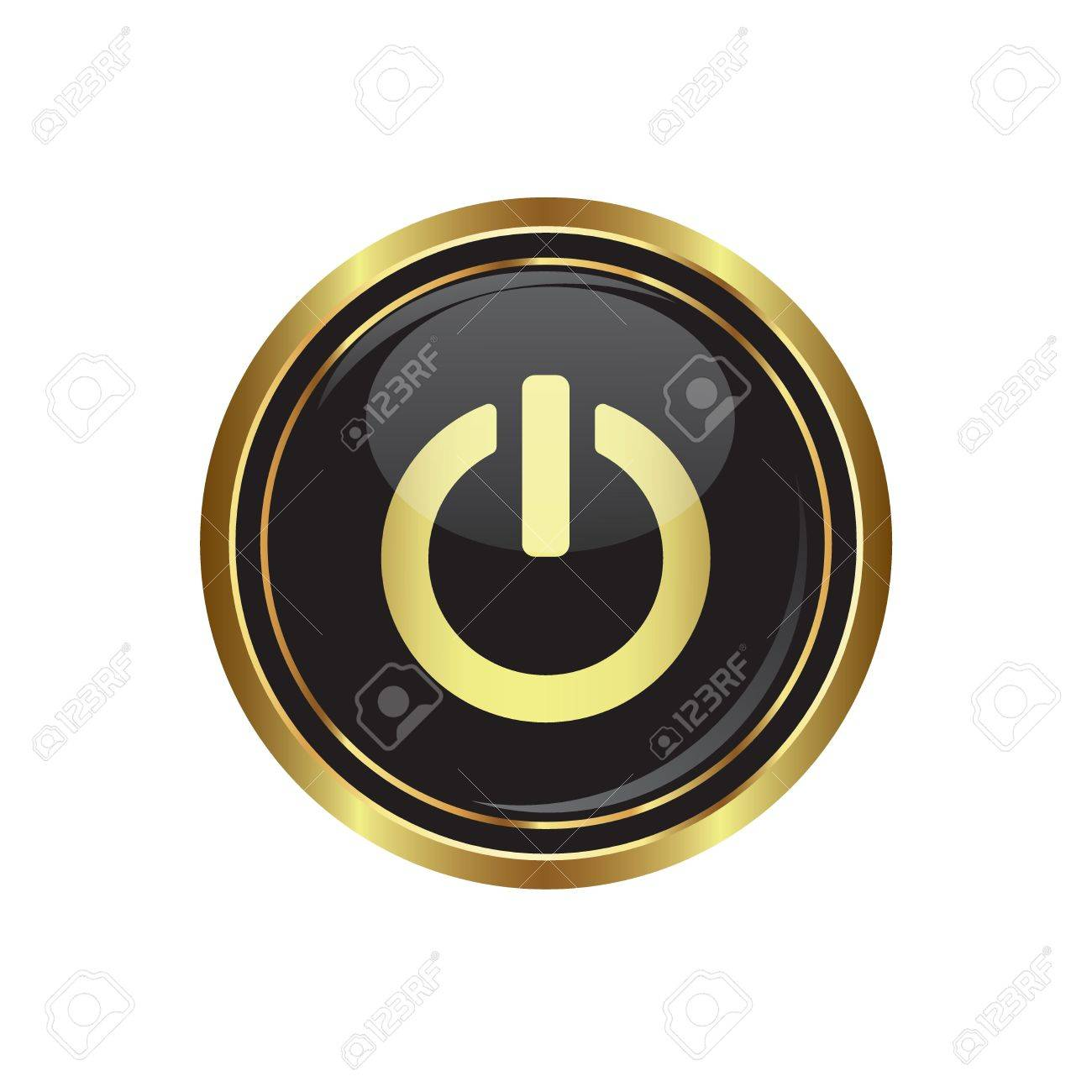Power icon on black with gold button illustration Stock Vector - 18699989