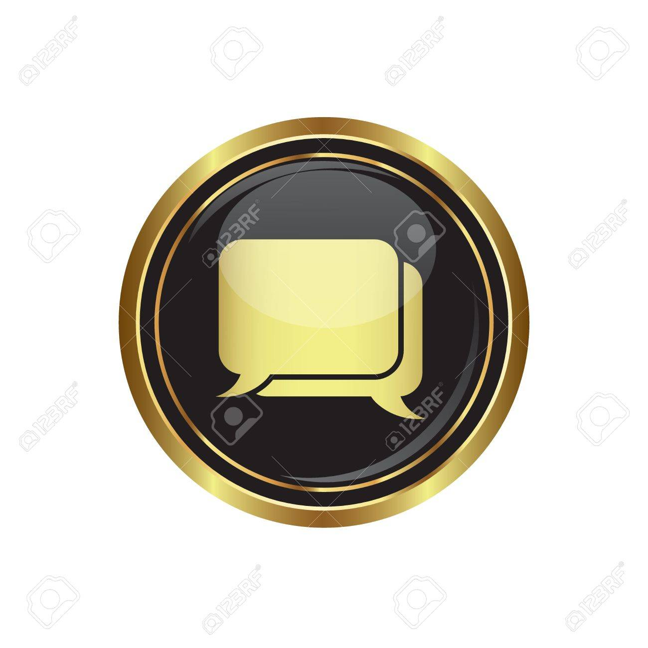 conversation box on black with gold button illustration Stock Vector - 18700011