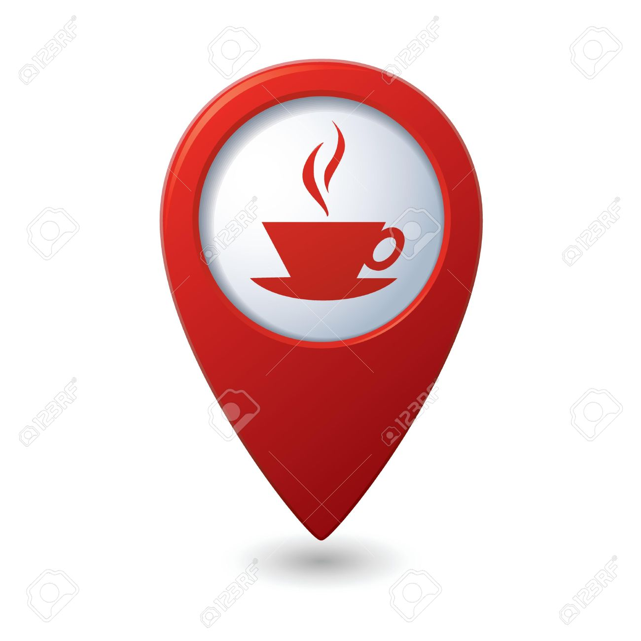 Map pointer with hot coffee cup icon  Vector illustration Stock Vector - 18937085