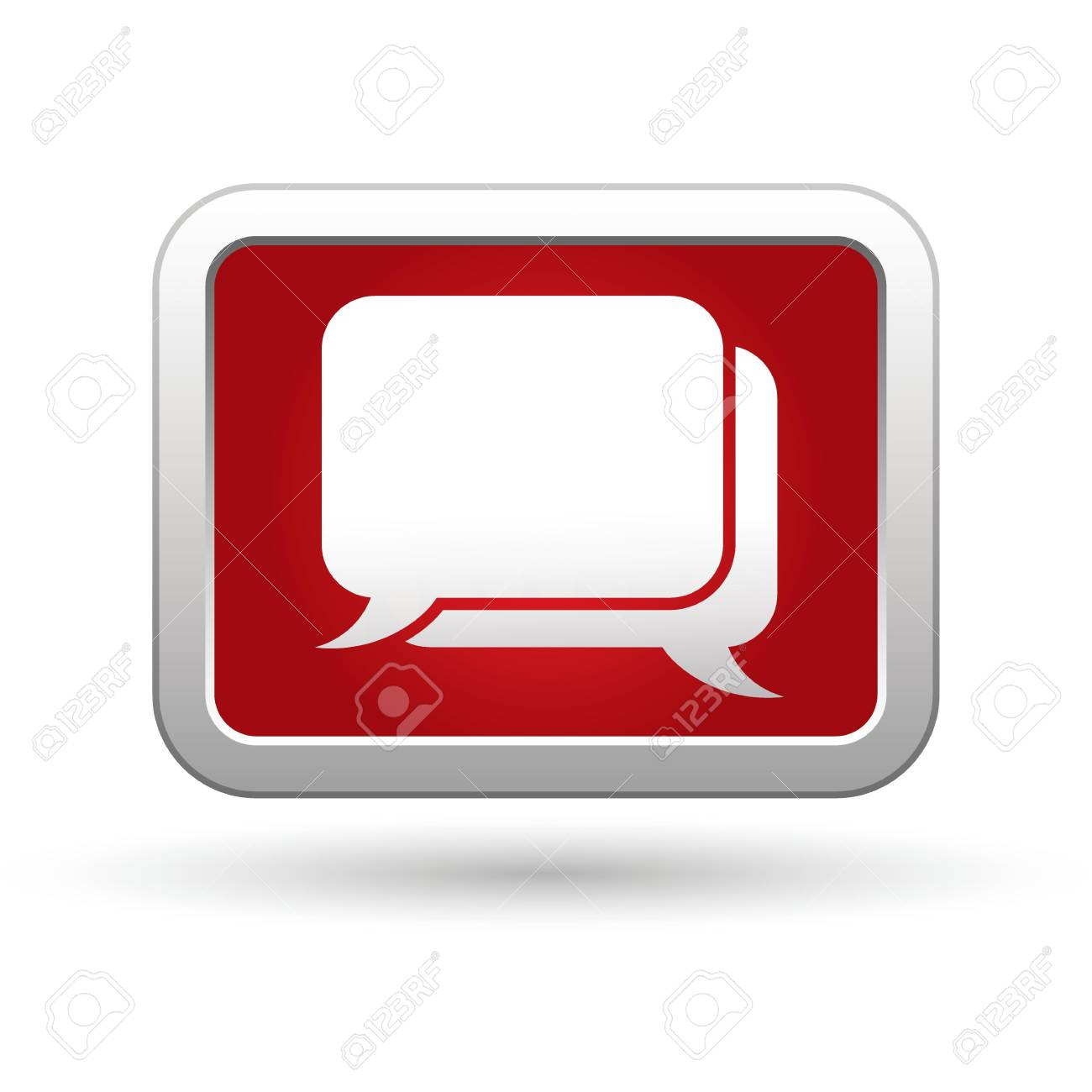 Speech bubbles icon on the red with silver rectangular button illustration Stock Vector - 18936939