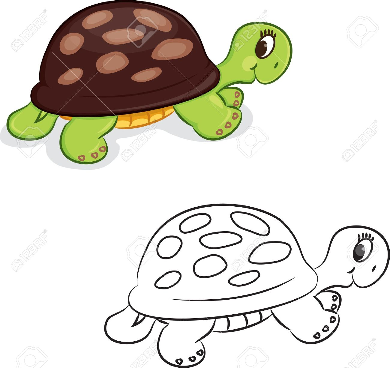 Cartoon Turtle Coloring Book Illustration Stock Vector