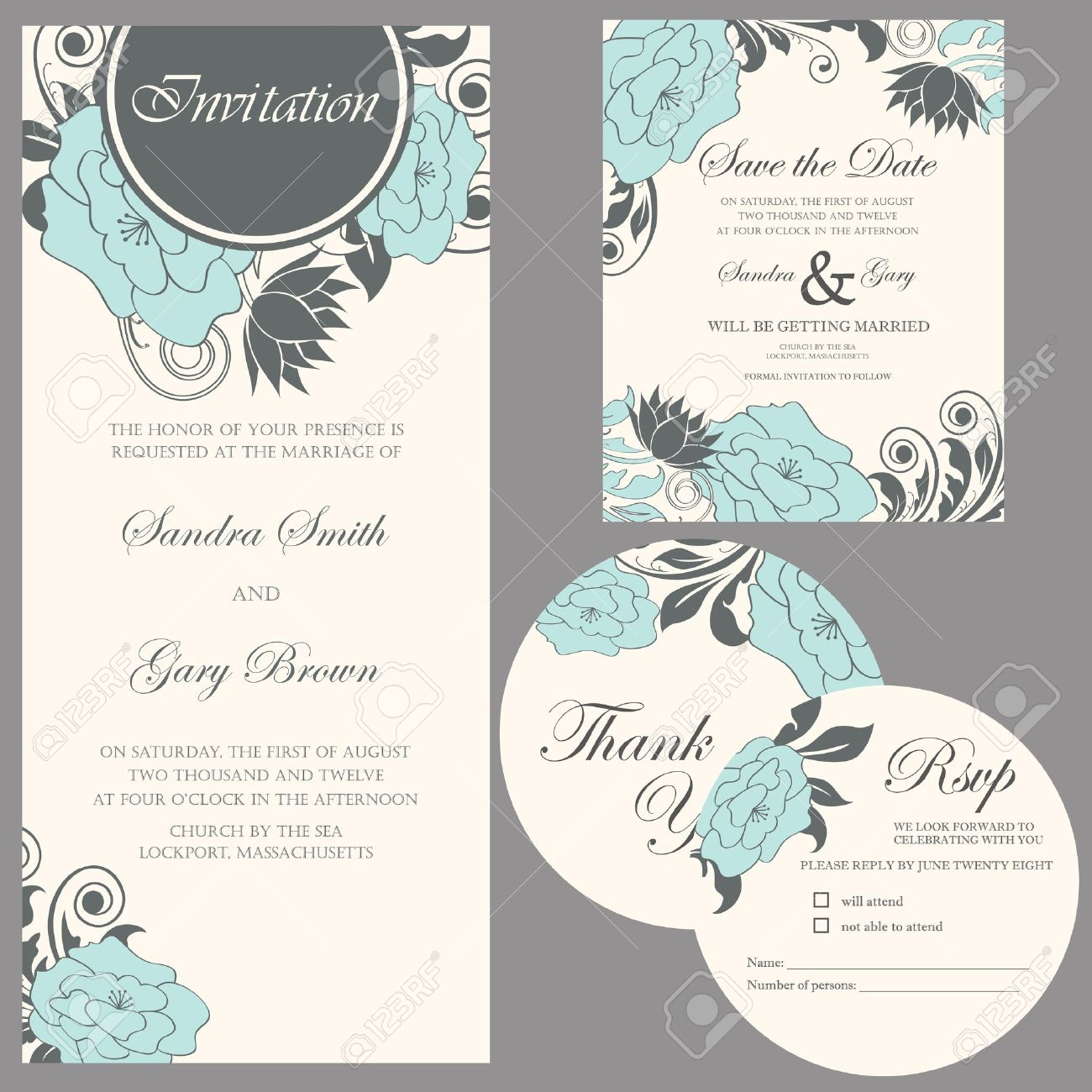 Wedding Invitation Set Thank You Card Save The Date Card RSVP – Invitation Card Rsvp