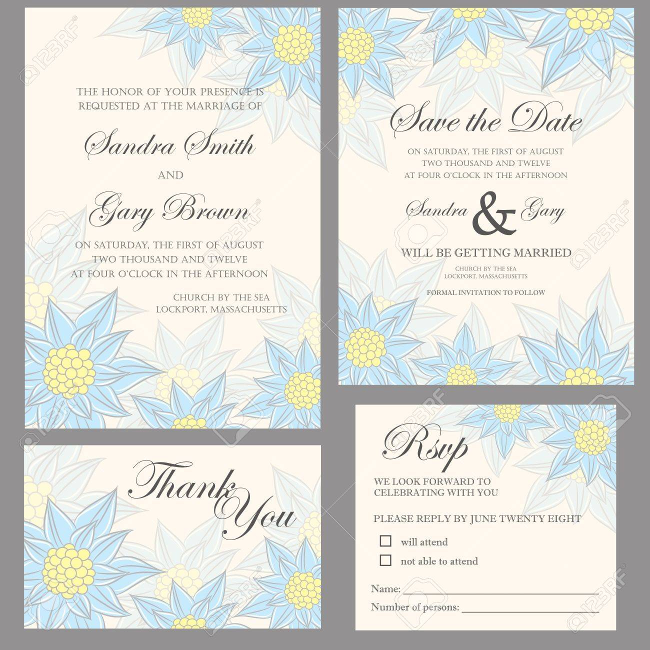 Wedding Invitation Set Thank You Card, Save The Date Card, RSVP ...