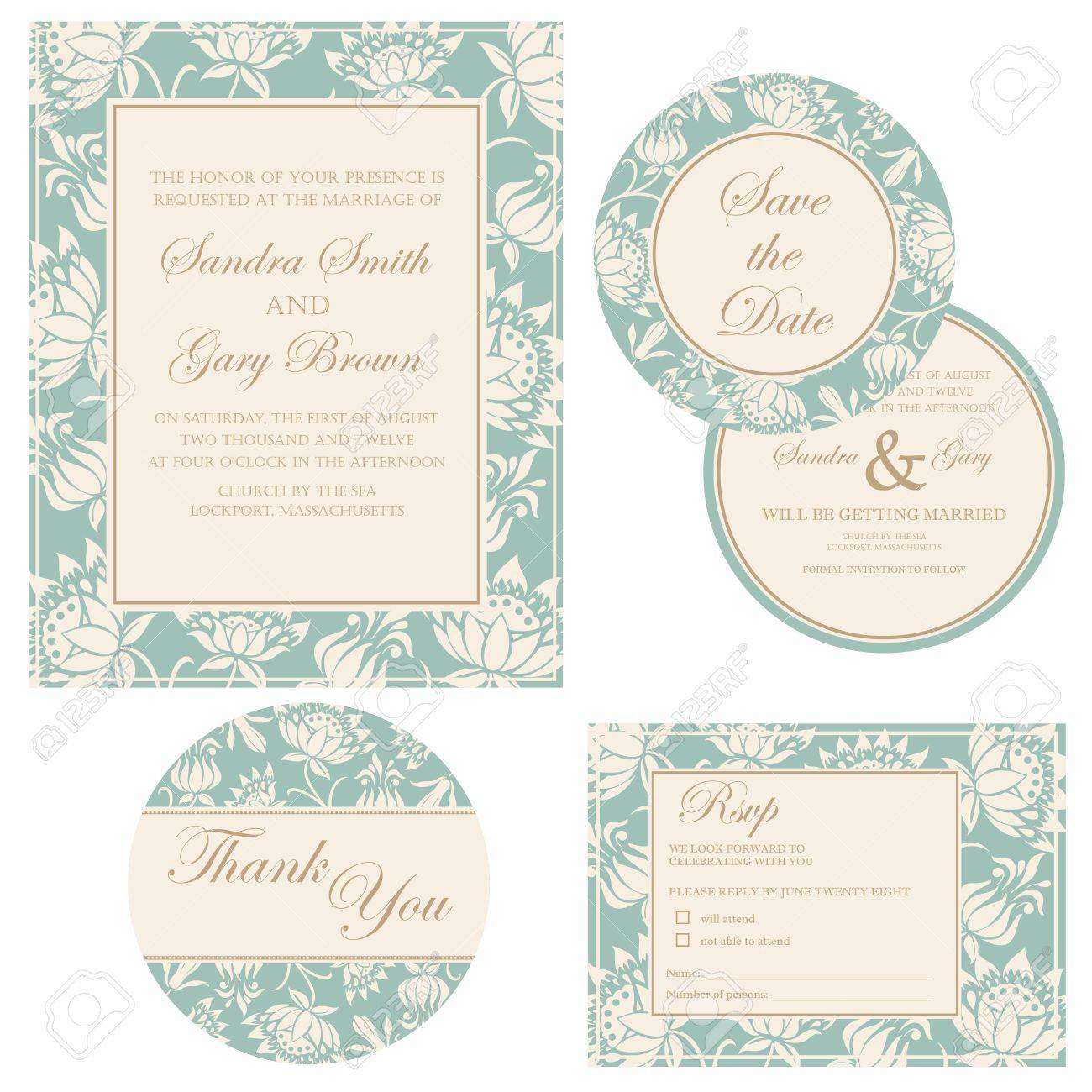 Wedding Invitation Set Thank You Card Save The Date Card Rsvp Card