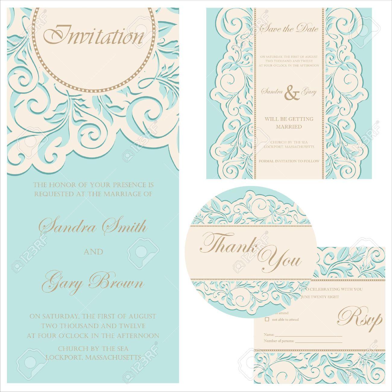 Wedding invitation set  wedding invitation, thank you card, save the date card, RSVP card Stock Vector - 19704198