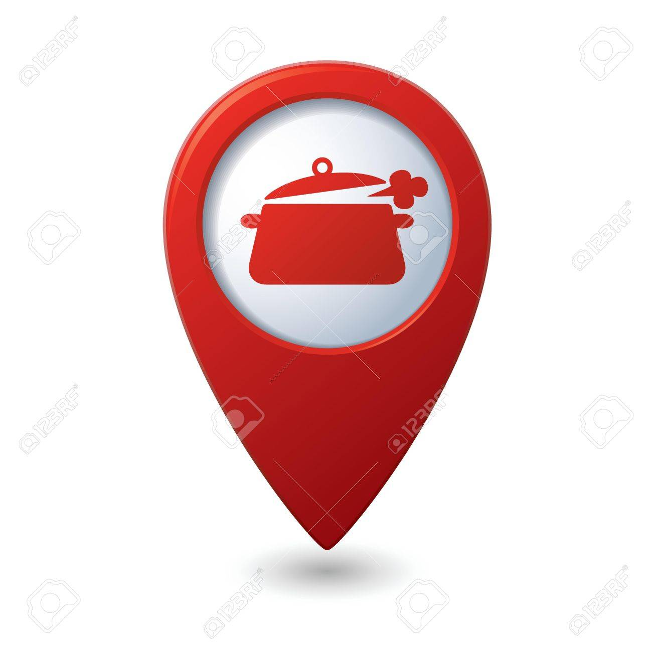 Map pointer with dining room icon Stock Vector - 19984741