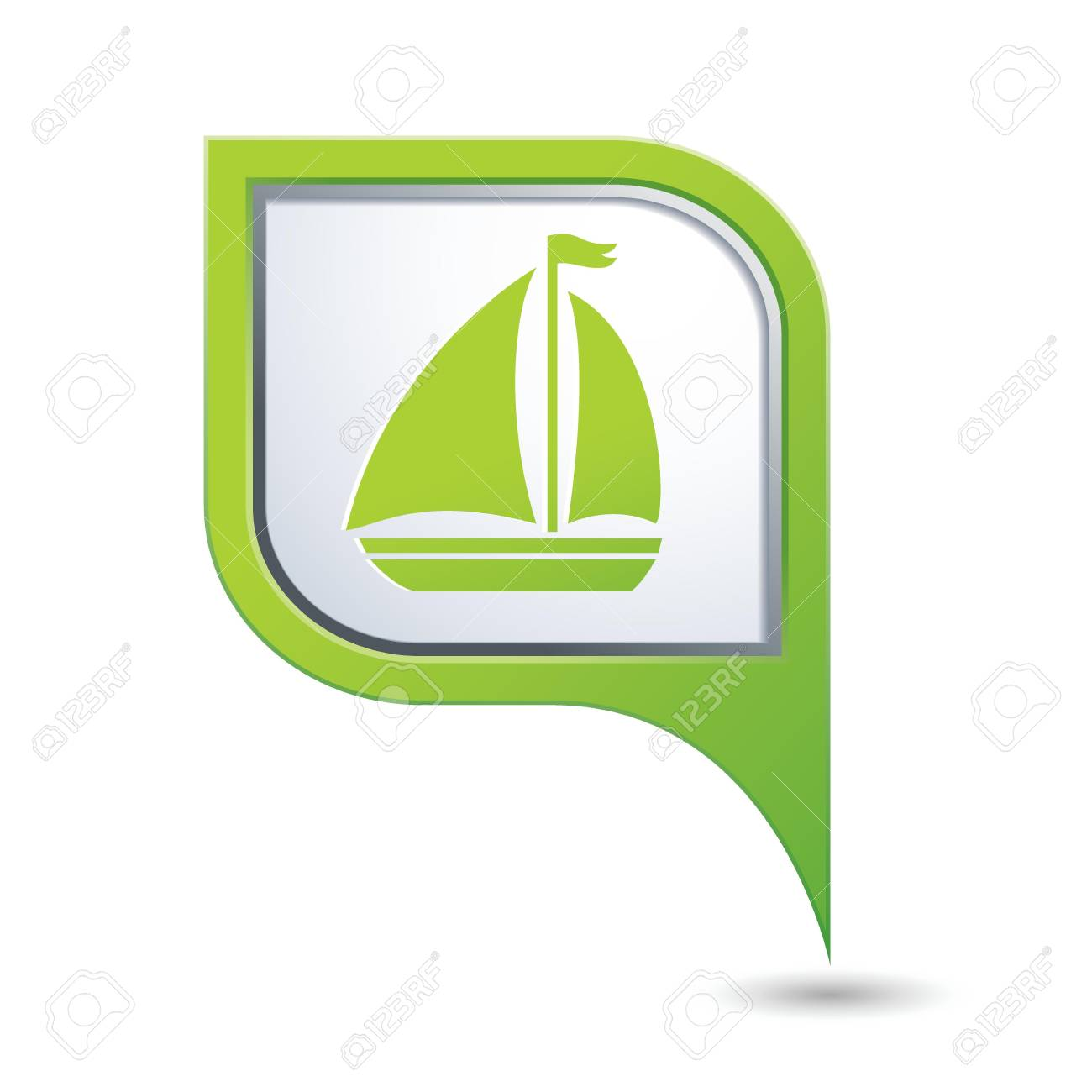 Green map pointer with sailboat icon Stock Vector - 20173775