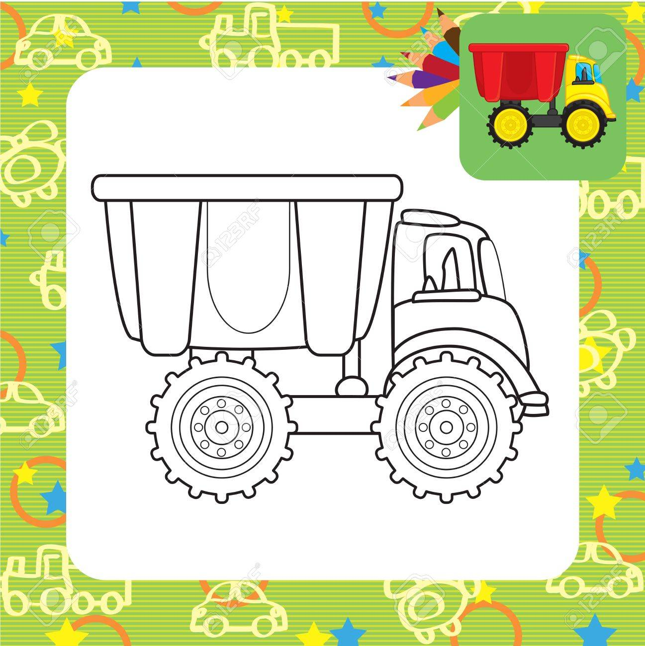 Dump Truck Toy Coloring Page Stock Vector 20172597