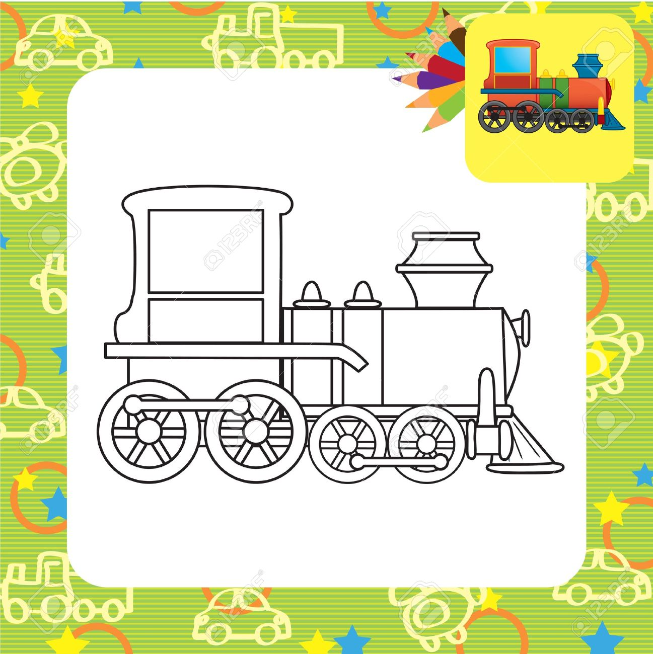 Train toy  Coloring page Stock Vector - 20172739