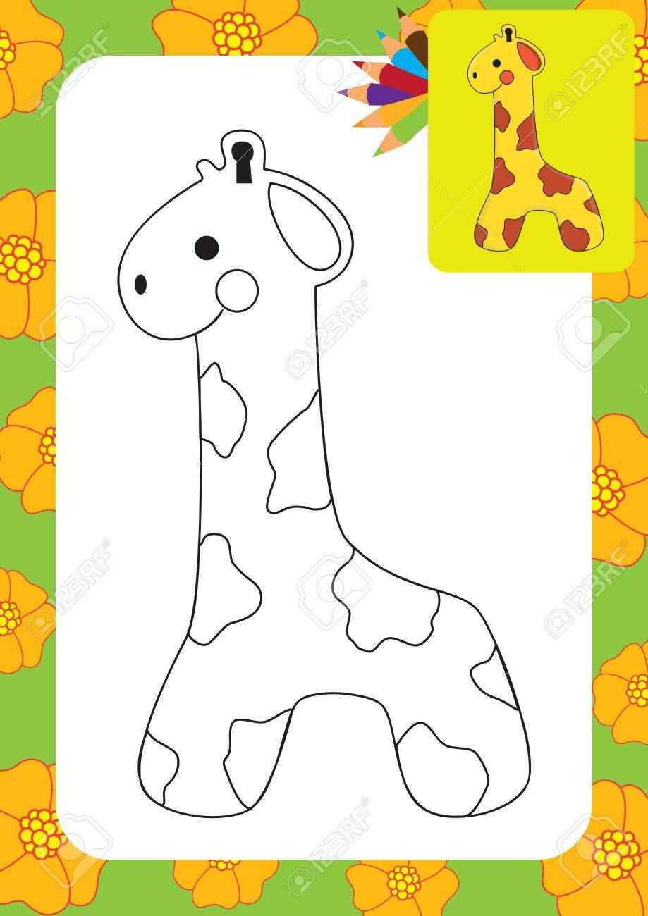 cute giraffe toy coloring page royalty free cliparts vectors and