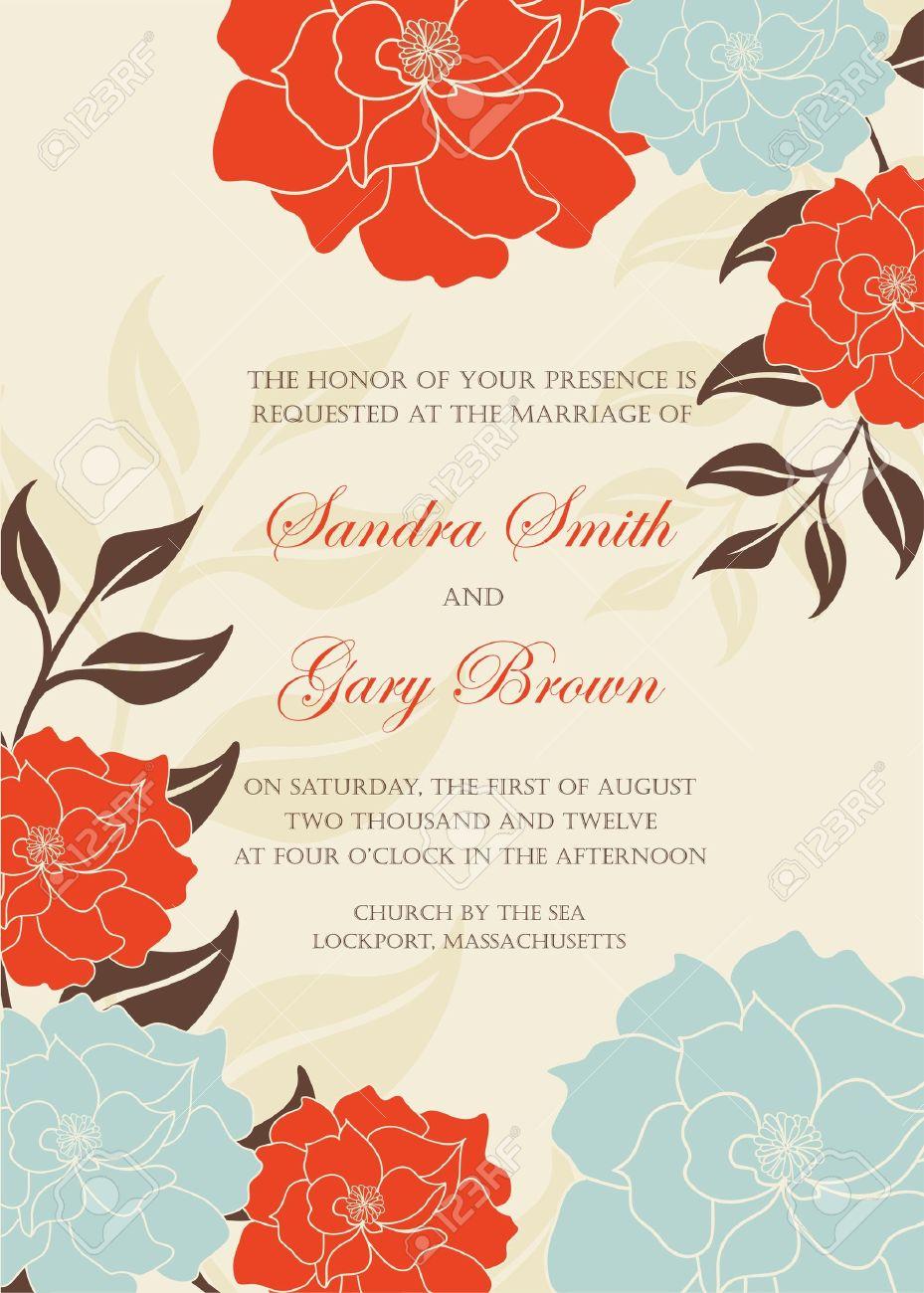 Floral wedding invitation template illustration Stock Vector - 20358170