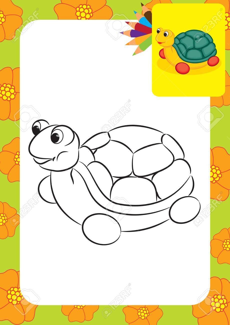 Tortuga De Juguete Para Colorear Ilustración Ilustraciones ...