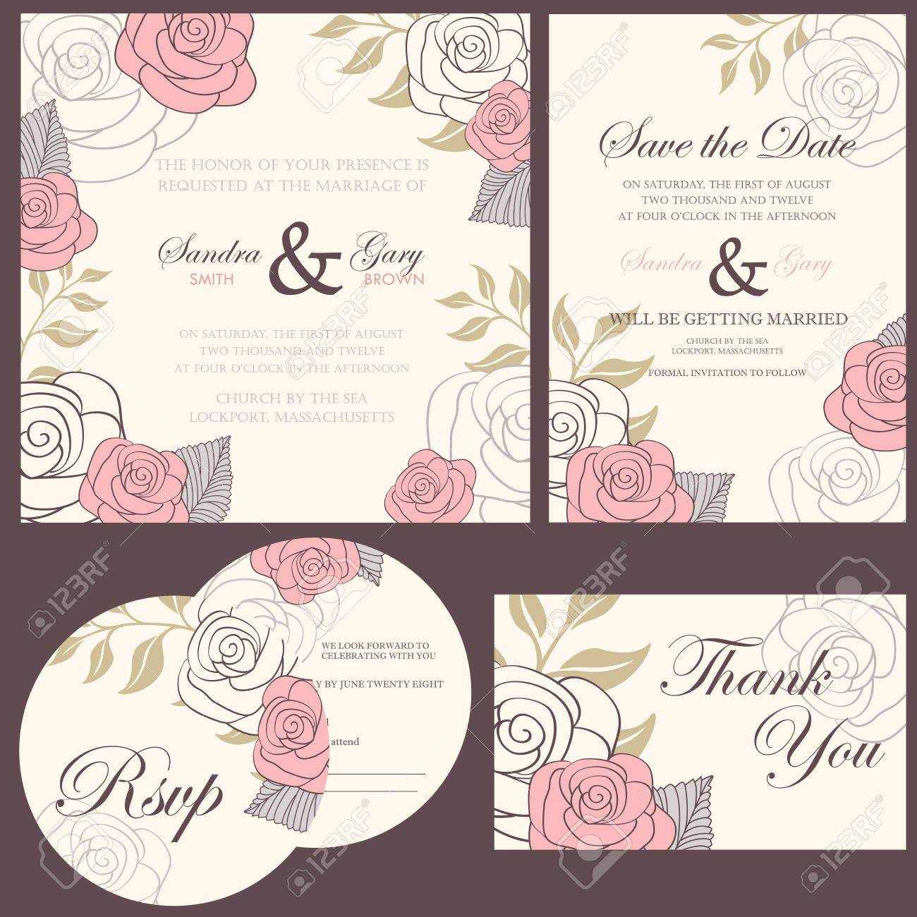 Wedding Invitation Cards Set Thank You Card Save The Date Card