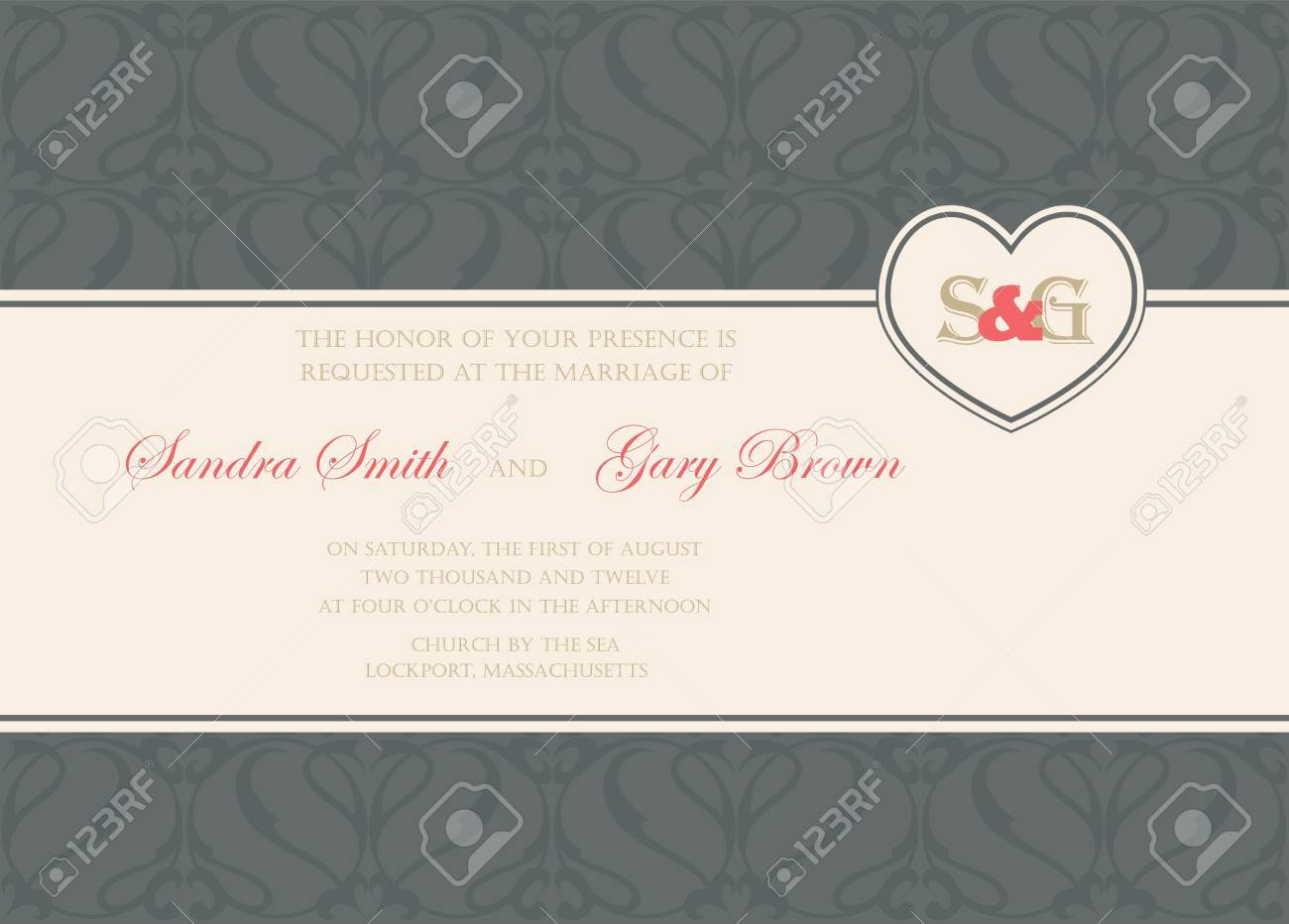 Vintage wedding invitation or announcement card Stock Vector - 20358132