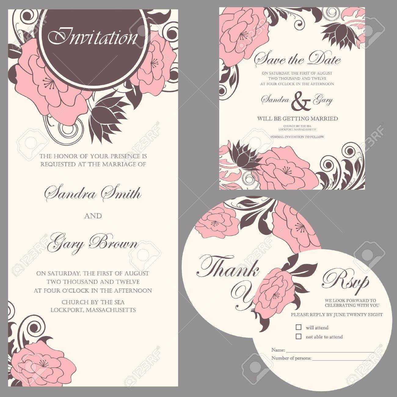 Wedding invitation set  thank you card, save the date card, RSVP card Stock Vector - 20358184