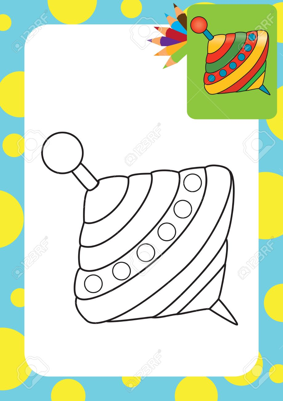 Humming Top Whirligig Coloring Page Royalty Free Cliparts