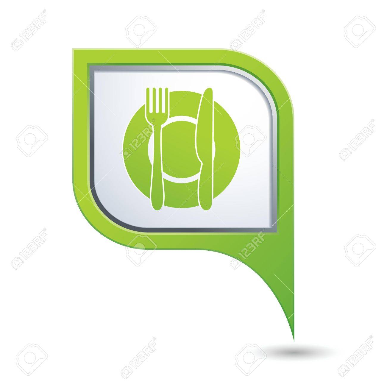 Green map pointer with restaurant icon Stock Vector - 20439418