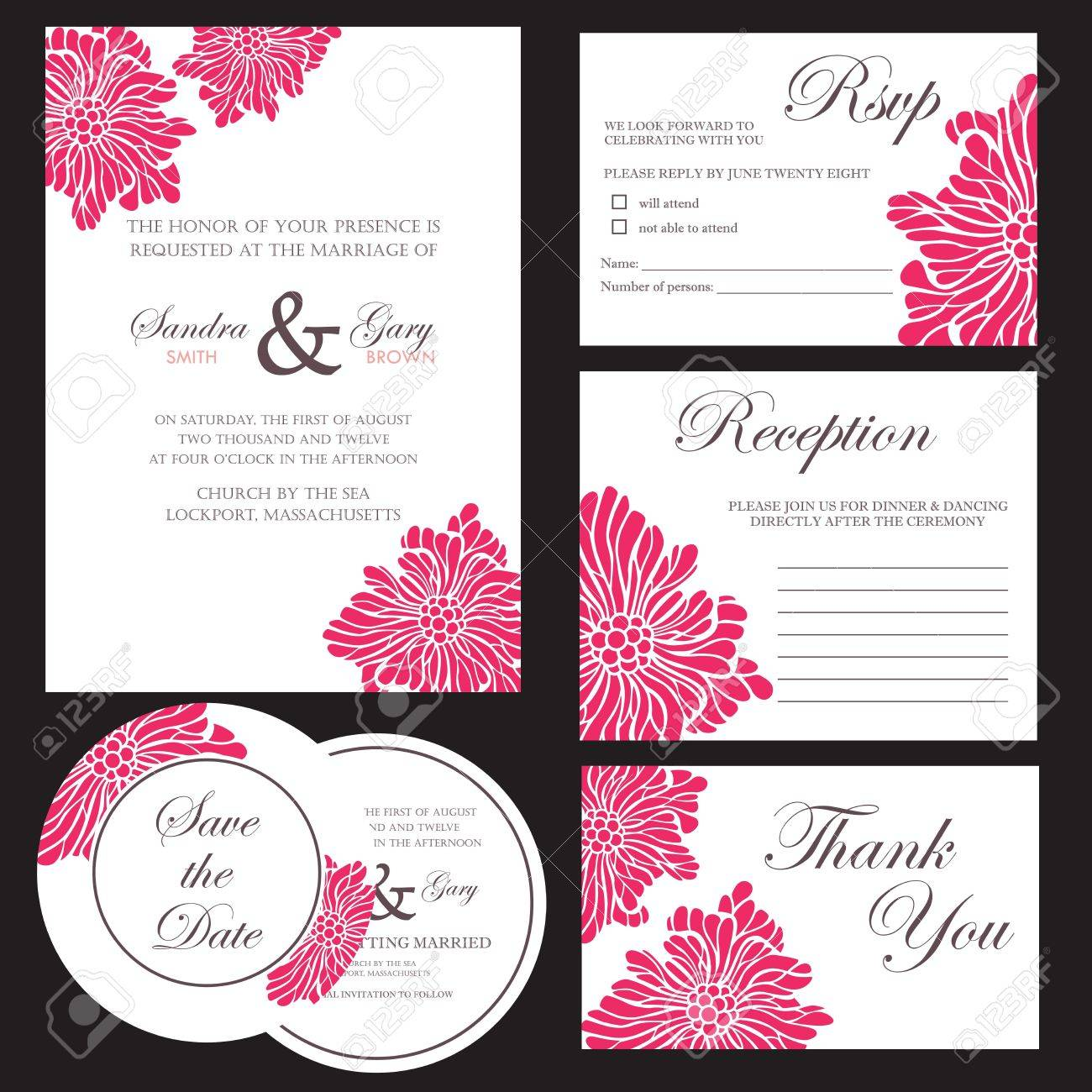 Set Of Wedding Invitation Cards Stock Vector   20439429