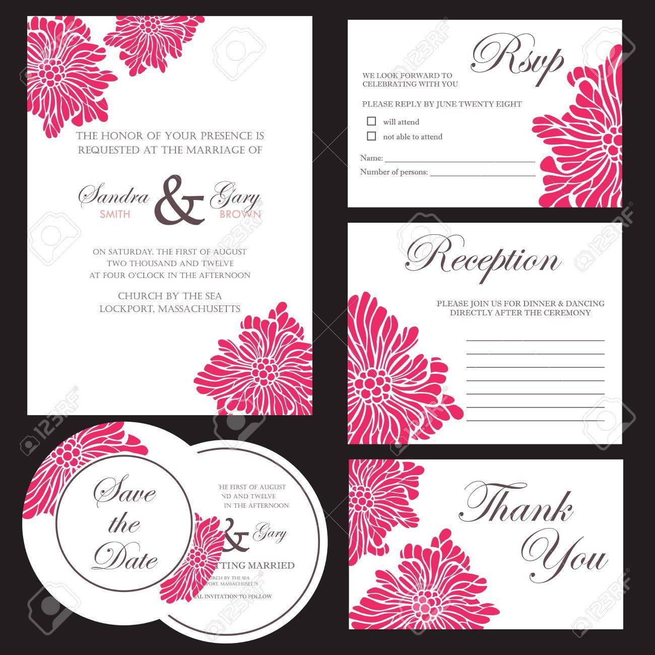 Set of wedding invitation cards Stock Vector - 20439429
