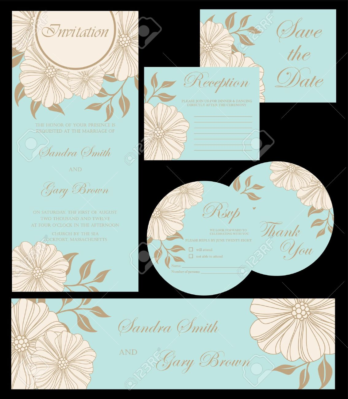 Beautiful Floral Wedding Invitation Cards Stock Vector   20439430