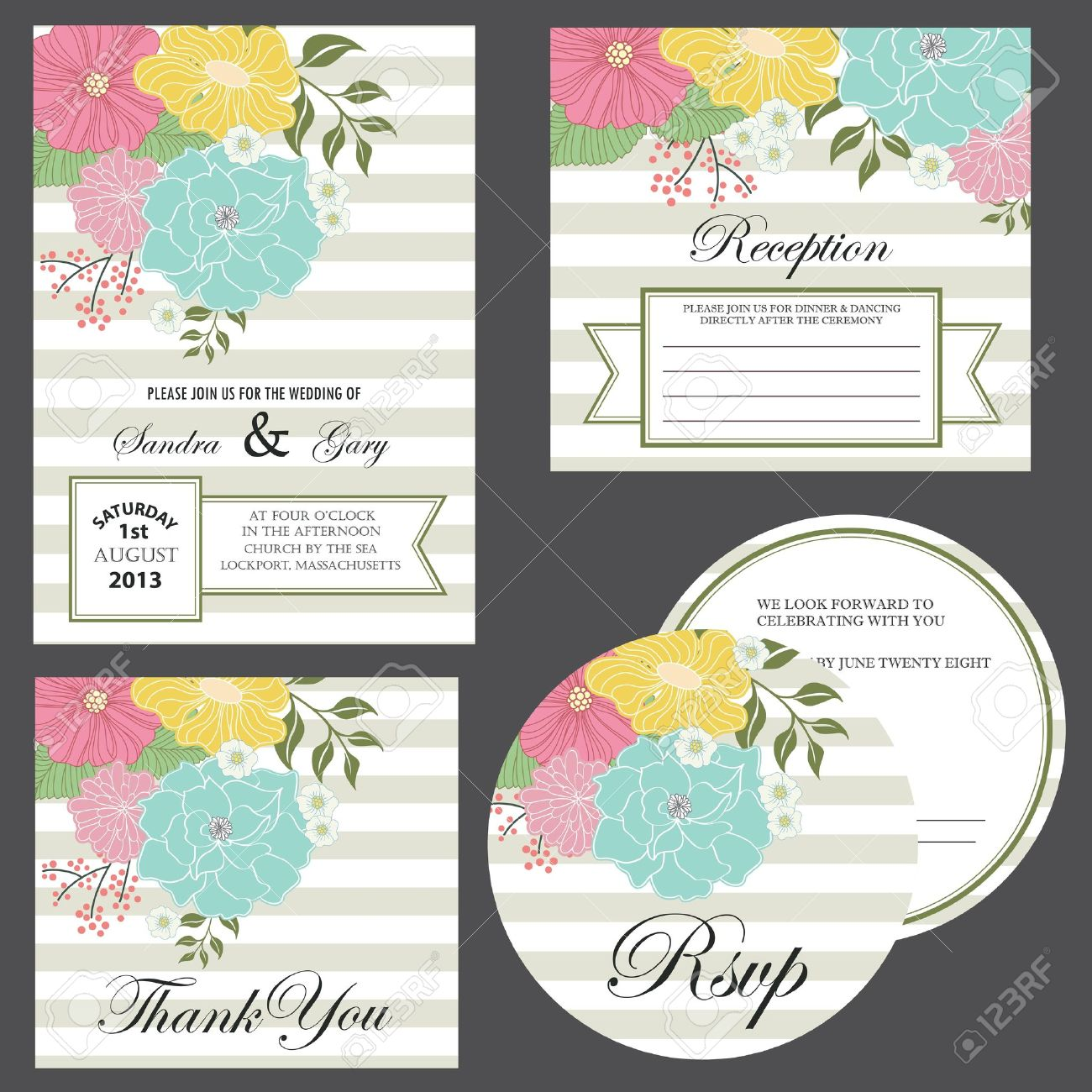 Set of wedding invitation cards  invitation, thank you card, RSVP card, reception Stock Vector - 20439439