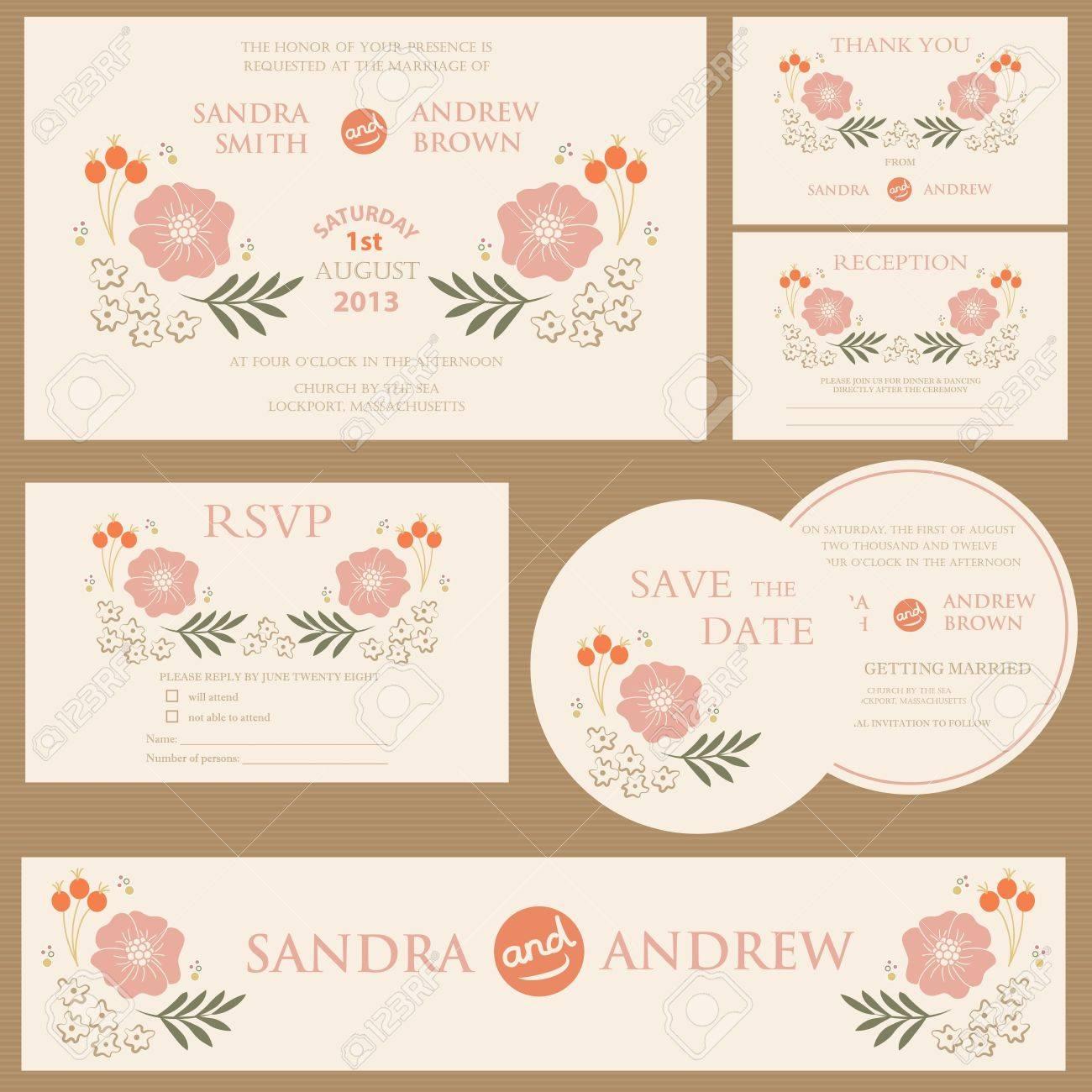 Beautiful vintage wedding invitation cards - 20861442