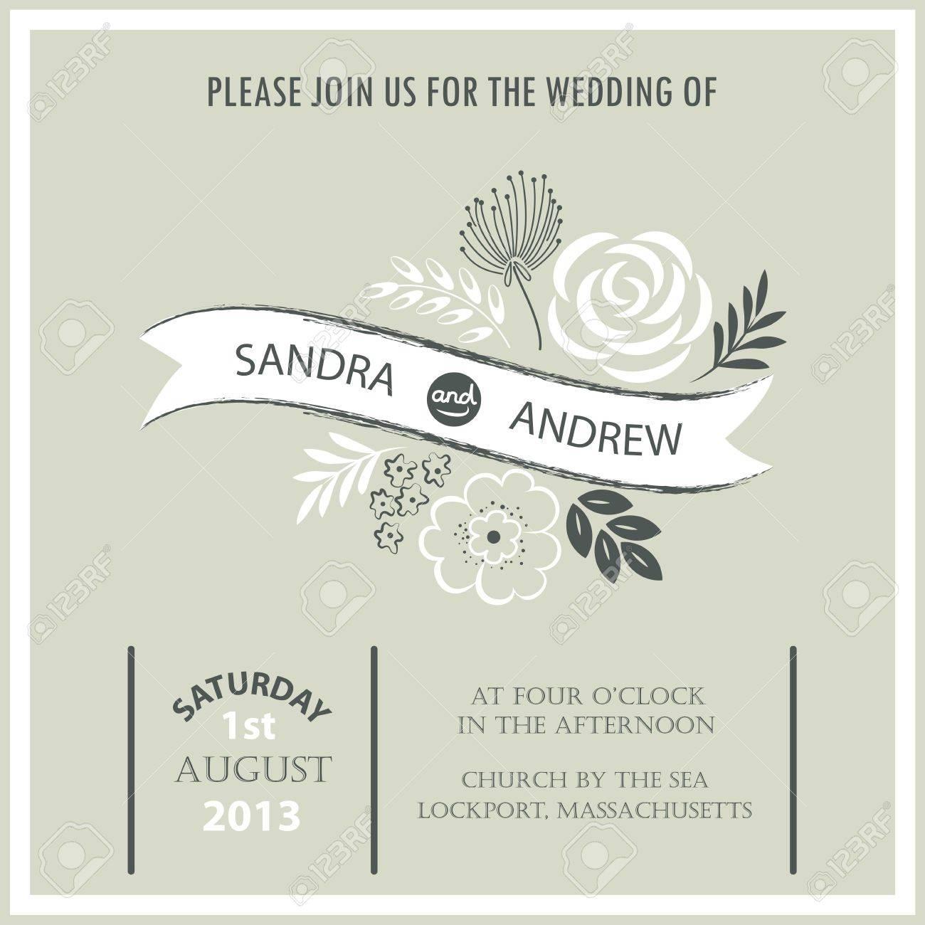 Vintage Wedding Invitation Card Stock Vector   20861437