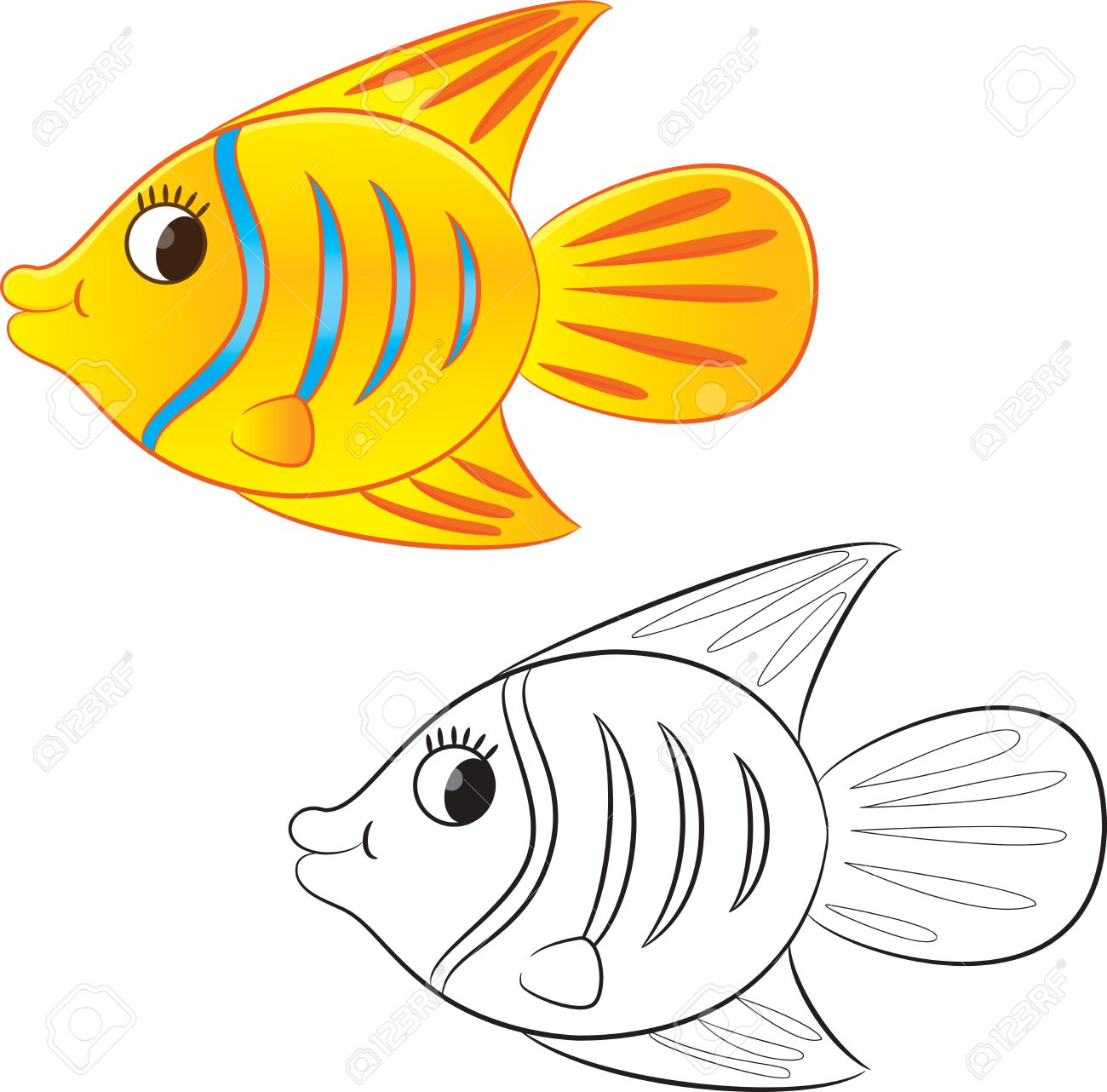 cartoon fish coloring page vector illustration royalty free
