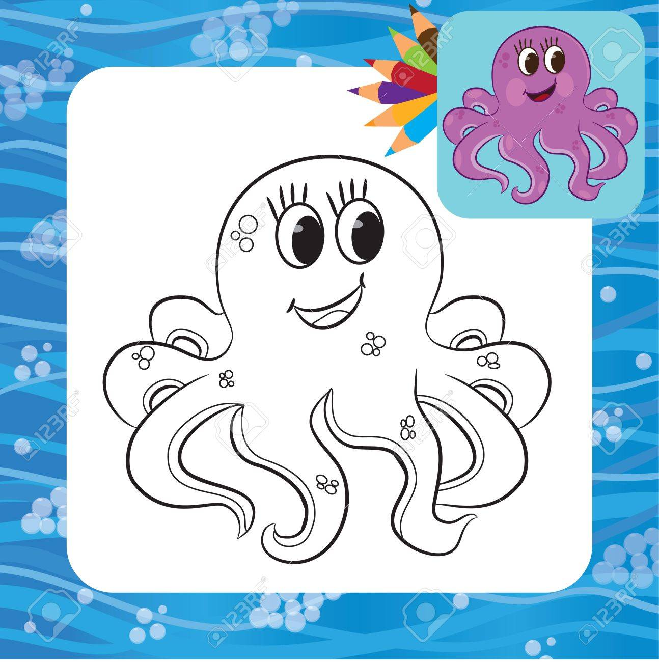 cartoon octopus coloring page vector illustration royalty free