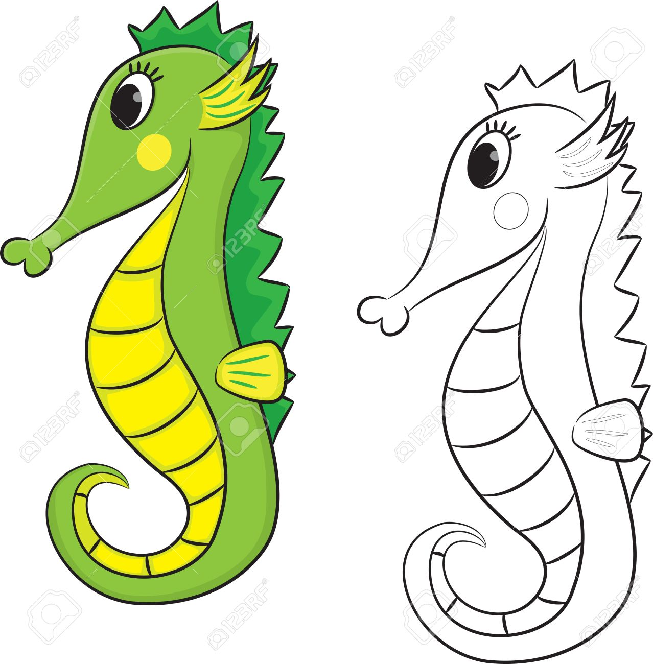 Hippocampe De Bande Dessinée Coloriage Vector Illustration Clip Art