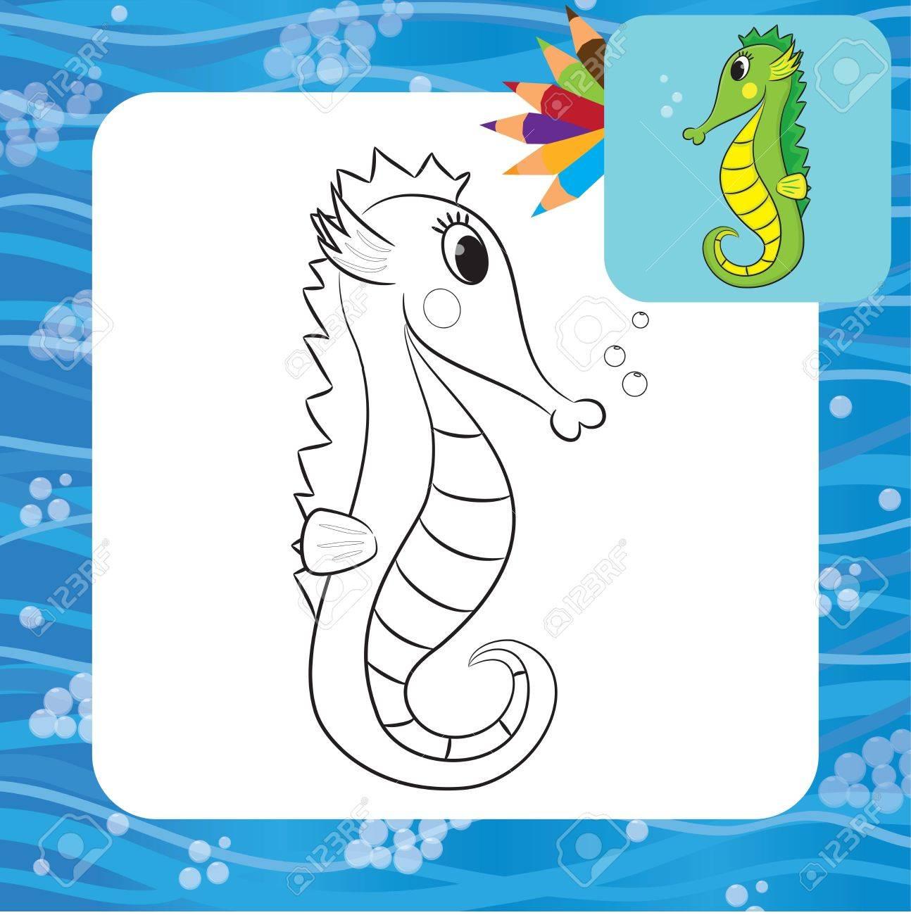 Cartoon Seahorse Coloring Page Vector Illustration Royalty Free ...