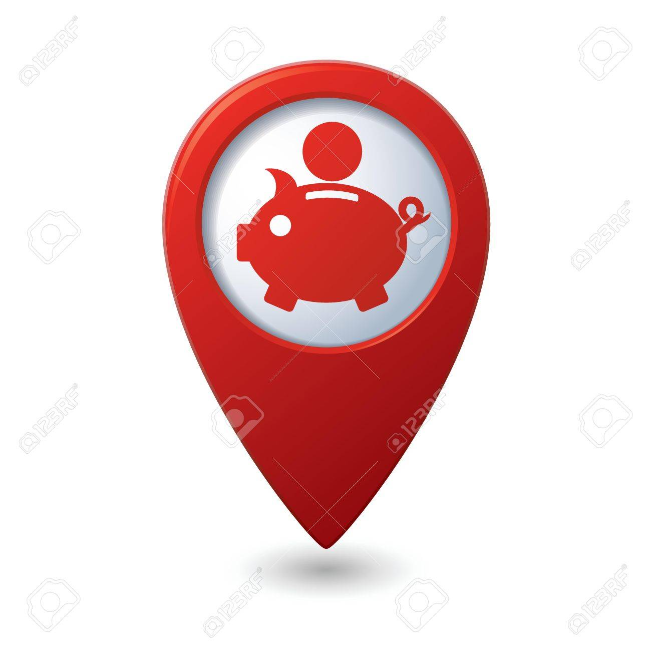 Map pointer with piggy bank icon Stock Vector - 22282543