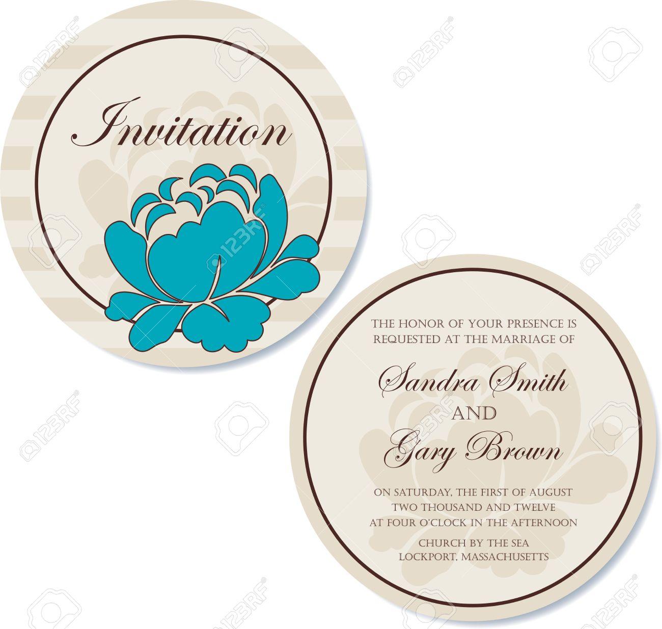 Redonda Vintage Tarjeta De Invitación De La Boda Floral De Doble Cara