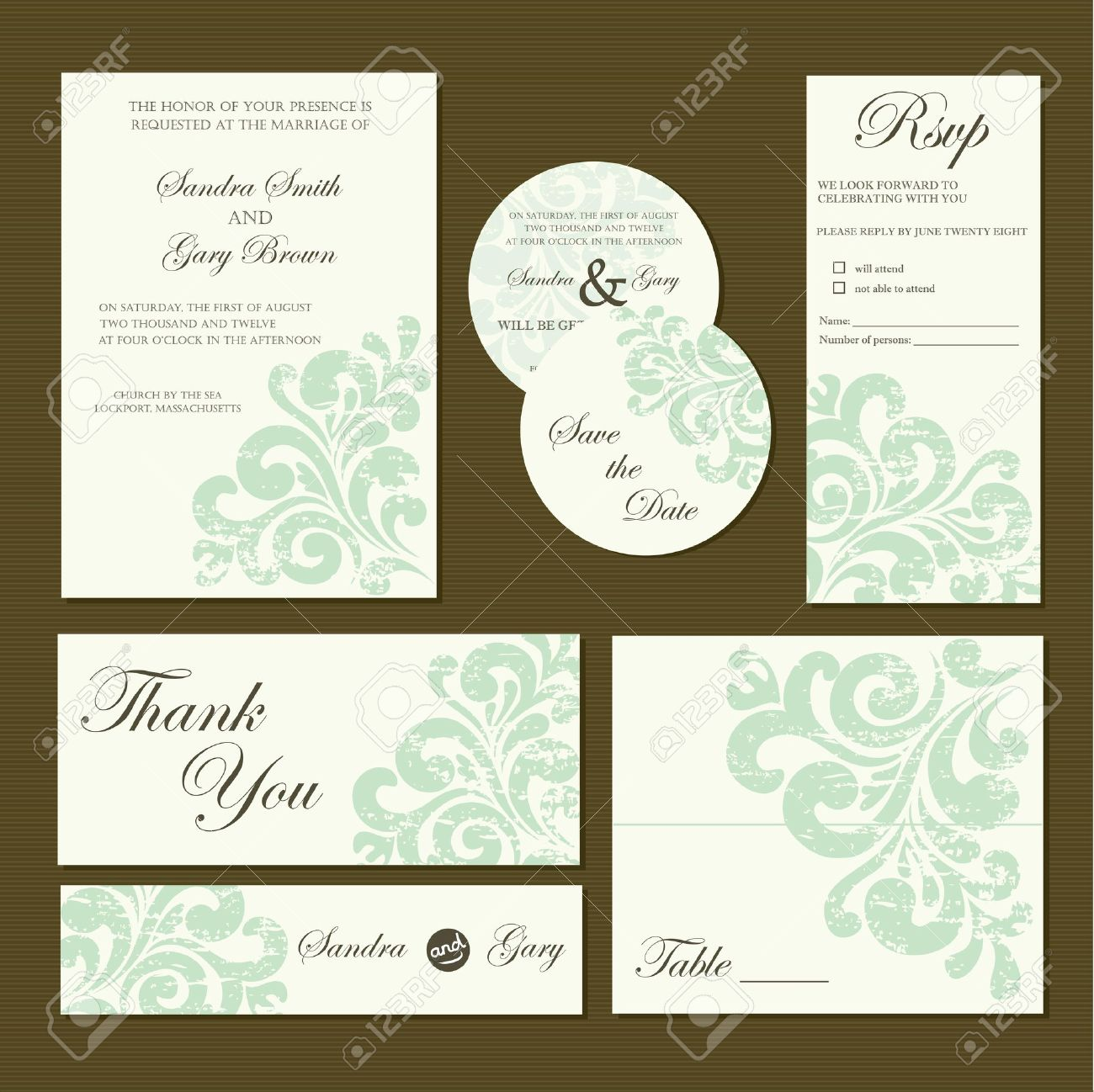 Set Of Wedding Invitation Cards Invitation Thank You Card