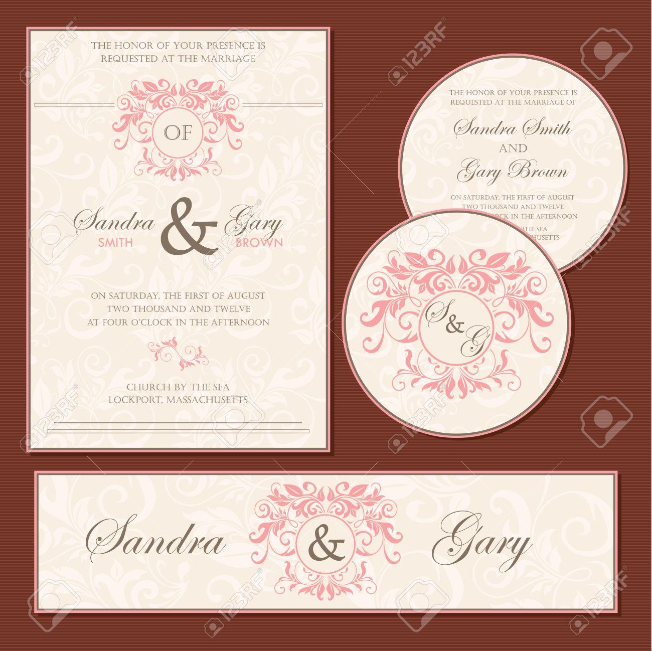 Set of wedding invitation cards invitation thank you card rsvp imagens set of wedding invitation cards invitation thank you card rsvp card save the date stopboris Image collections