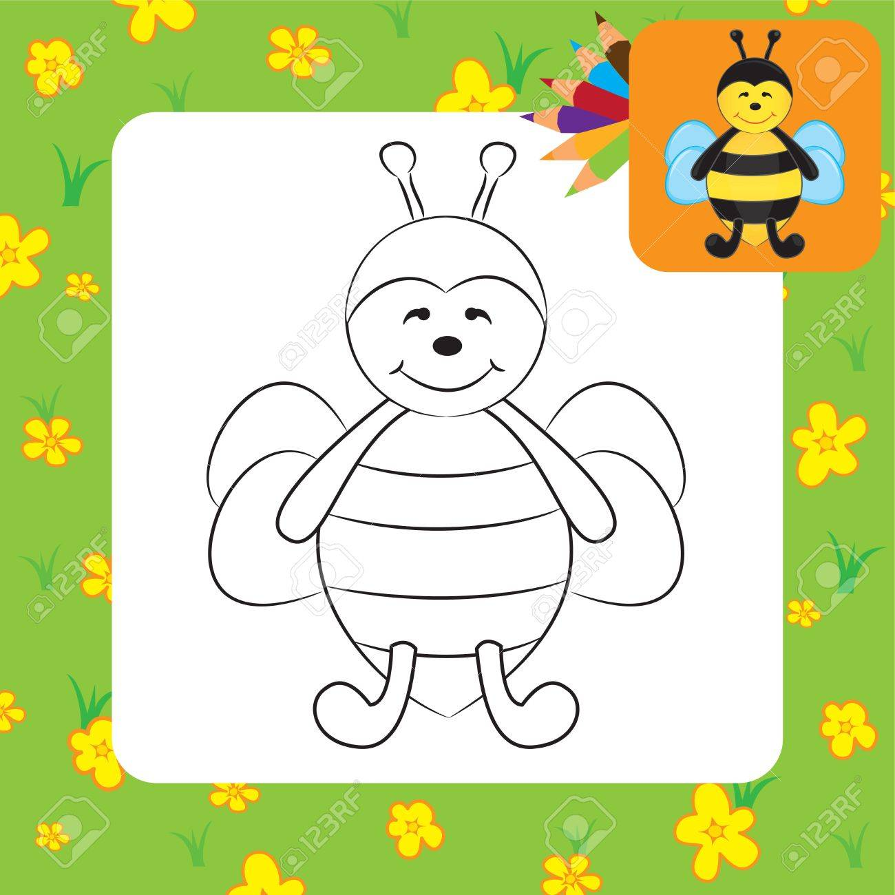 Cute Cartoon Bee Coloring Page Vector Illustration Royalty Free Cliparts Vectors And Stock Illustration Image 22895441
