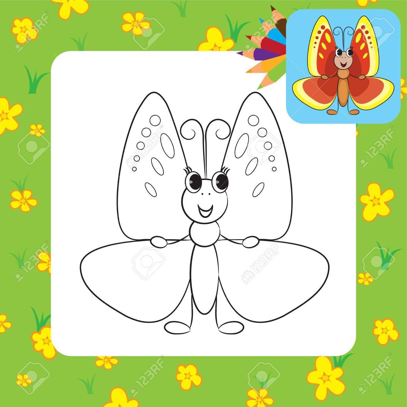 Dibujo Para Colorear De Dibujos Animados Lindo Mariposa Ilustración ...