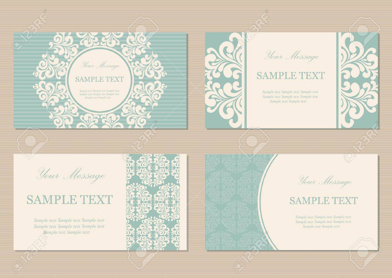 Floral Vintage Business Or Invitation Cards Royalty Free Cliparts ...