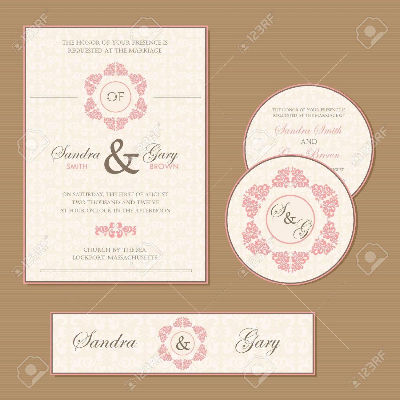 Beautiful vintage wedding invitation cards - 23820992